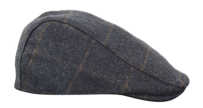 2d65544bd Mens Herringbone Tweed Wool Check Grandad Flat Caps Hats Vintage Green Grey  Blue Brown