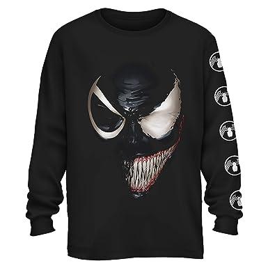 d6640b4c477e64 Amazon.com: Marvel Venom Half Spider-Man Spiderman Avengers Villain Comic  Book Adult Mens Graphic Long Sleeve T-Shirt Apparel: Clothing