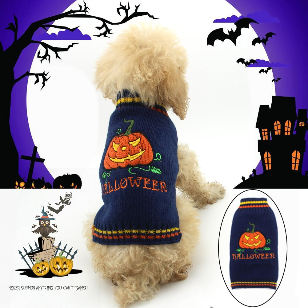 Delifur Halloween Pumpkin Dog Sweater Pet Costume Fashion Holiday Party Puppy for Dogs and Cats by (S)