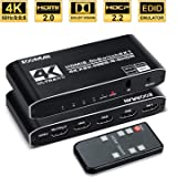 4k HDR HDMI Switch, Koopman 4 Ports HDMI 2.0 Switcher Selector with IR Remote Control, Supports HDCP 2.2 4K@60Hz UltraHD…