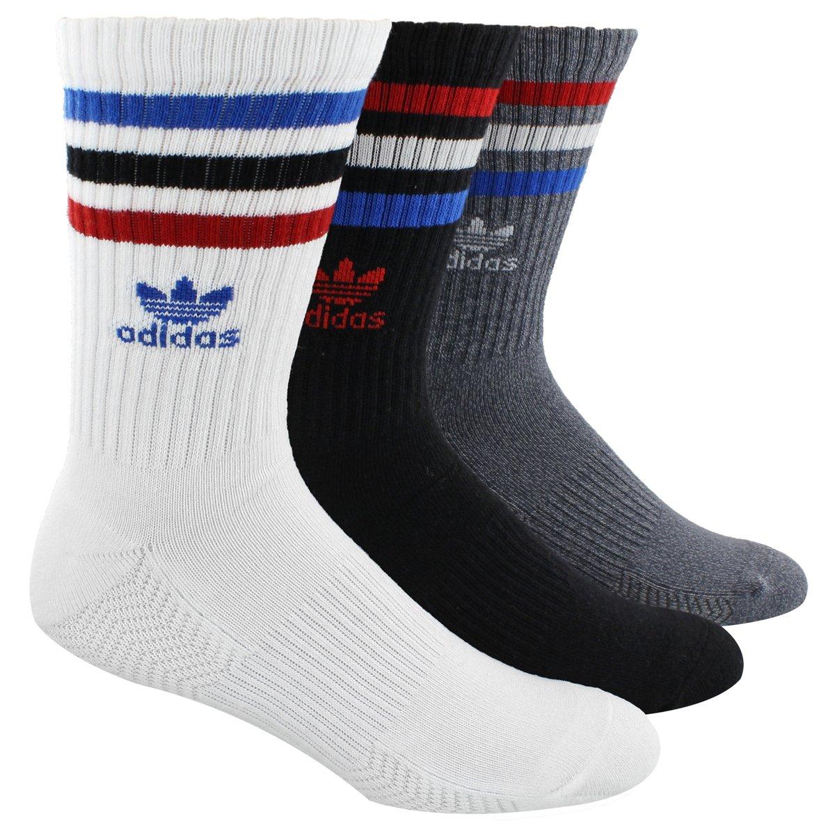 adidas Men's Originals Cushioned Crew Socks (3 Pack), White/Black/Onix Light Onix Marl/Scarlet/Blue/Black, Large