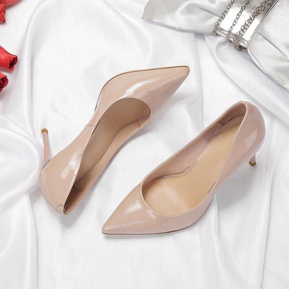 CXY Spitze Fein mit Hohen Fersen Fersen Fersen Weibliche Frühlings- und Herbstlederlacklederarbeitsschuhe Reizvolle Schwarze Alleinige Schuhe Rosa 34 39ae95