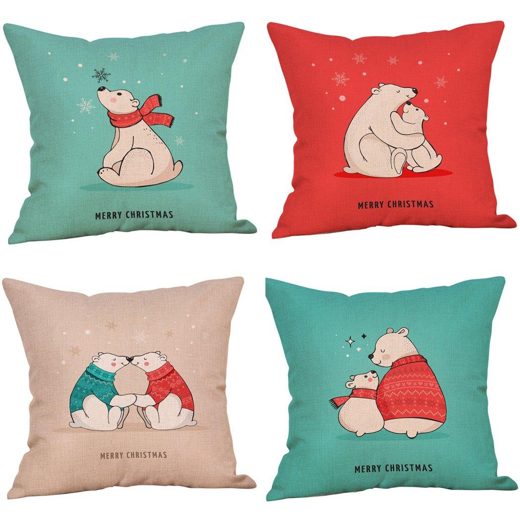 Vancore, copricuscino di Natale, per divano, letto, decorazione di Natale, decorazione per la casa, regalo, quadrato, 45 x 45cm, 4 pezzi Red(Embroidery) 45 x 45cm