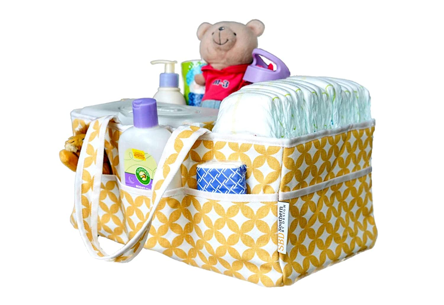 Baby Diaper Caddy Organizer Washable | Nursery Storage Diaper Tote and Basket |15 x 9 x 7 Inches Southern By Design