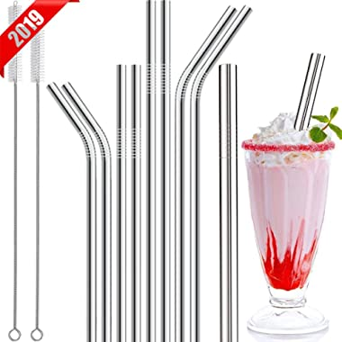 Stainless Steel Straws, 11 Pcs Full Variety Reusable Metal Drinking Straws With Smooth-friendly Wide Diameter Straw For Yeti 20oz 30oz 40oz Tumblers