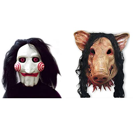 2x SET Cerdo + Máscara SAW JIGSAW con pelo sintético - Perfecto para carnaval y Halloween