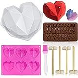 Molde de silicona con forma de corazón, moldes de diamante, forma de corazón, moldes antiadherentes, moldes de chocolate con