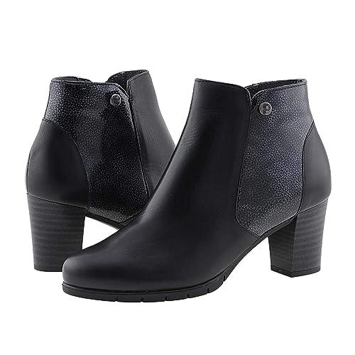 21c7285bb650b Botines Negros Piel Lisa y grabada Pitillos Talla  40 Color  Negro   Amazon.es  Zapatos y complementos