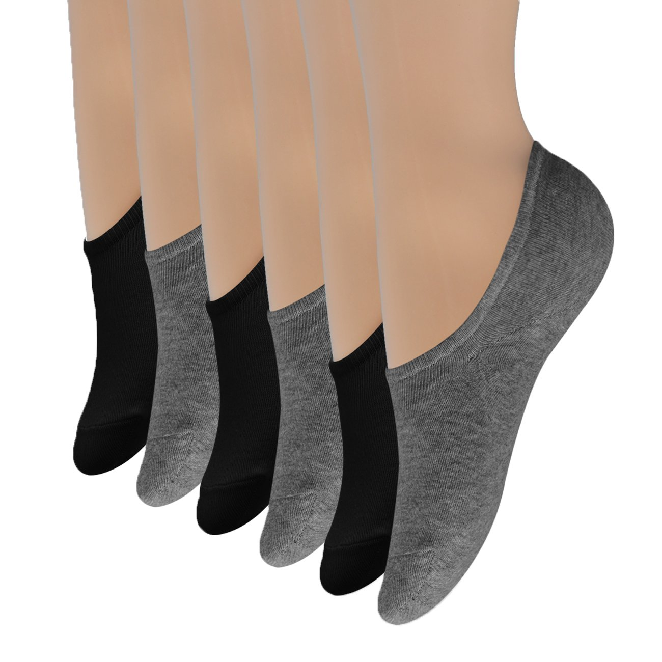 No Show Socks Womens 6 Pack Thin Casual Low Cut Non-Slip Flat Boat Line