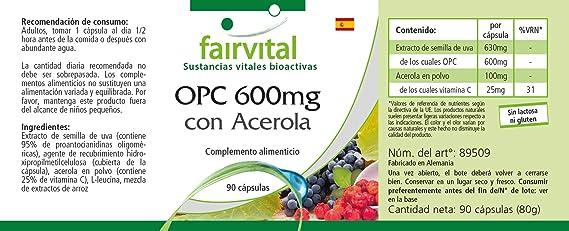 600 mg OPC con Acerola - GRANEL durante 3 meses - VEGAN - ALTA DOSIS - 90 cápsulas - extracto de semilla de uva: Amazon.es: Salud y cuidado personal