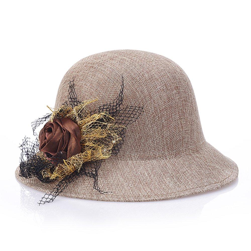 Women Flowers Summer Cotton Linen Straw Hats Beach Sun Hat Cap (Grey)