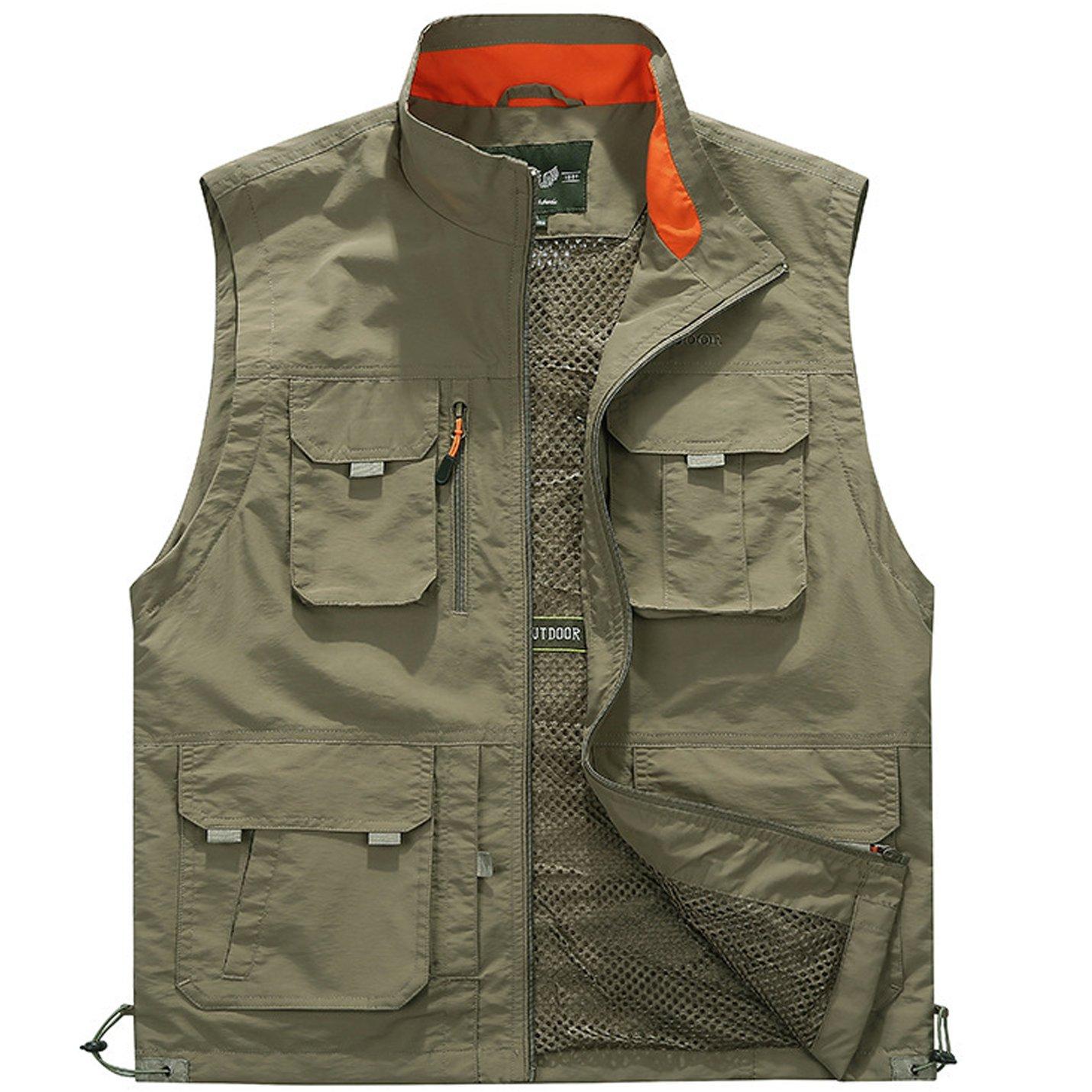 Flygo Men's Utility Outdoor Multi Pockets Fishing Photo Journalist Sports Vest