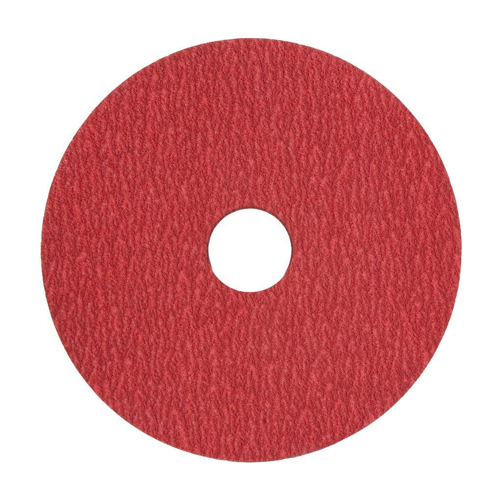 VSM 149140 Resin Fiber Disc Coarse Grade Pack of 50 24 Grit Ceramic Bright Red Fiber Backing 5 X 7//8 Arbor Hole