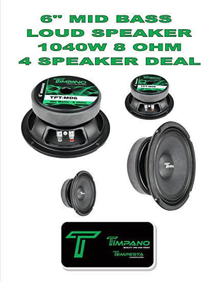"Full Range Mid Bass Loud Speaker 6/"" 8 Ohm 260 Watts Peak TPT-MD6"