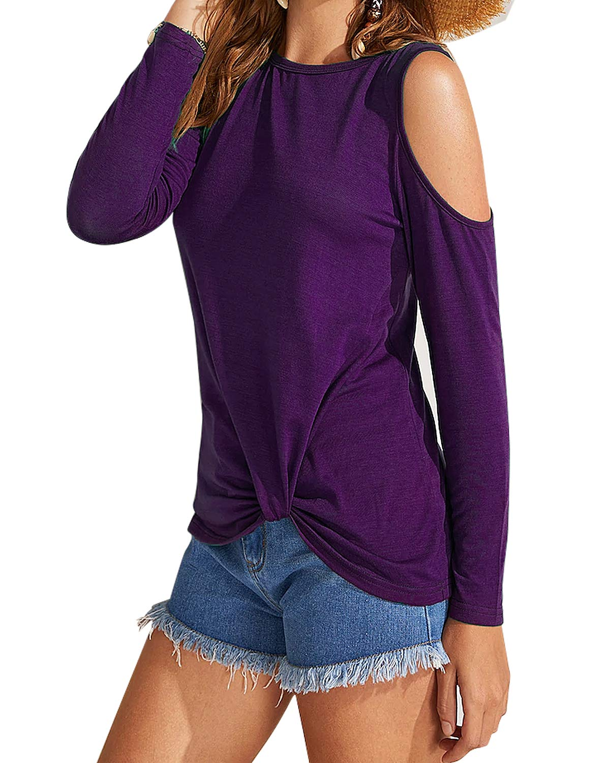 Eanklosco Women's Long Sleeve Cold Shoulder Cut Out T Shirts Casual Knot Tunic Tops (Purple, L)