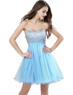 Belle House Women Strapless Tulle Sky Blue Homecoming Dresses for Juniors Beaded Sequins 2018 Ball Gown