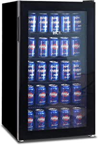 HCK Beverage Refrigerator and Cooler - 126 Can Mini Fridge with Glass Door for Wine or Soda Beer, Small Drink Dispenser Machine for Bar, Home or Office, 3.5 cu.ft.