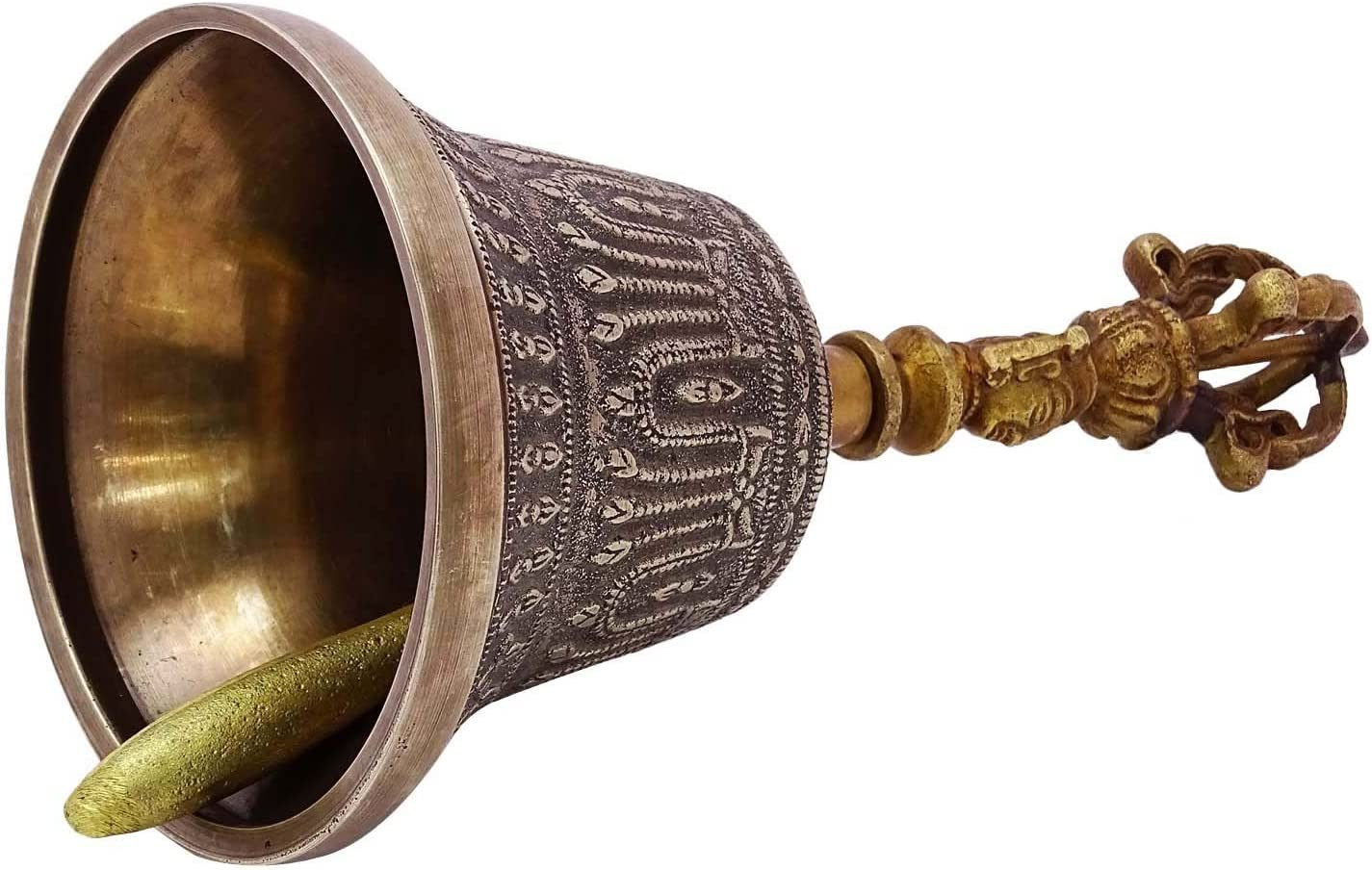 Indian Brass Gold Tone Traditional Religious Prayer Hand Bell Carved Handle