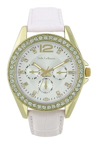 Para mujer blanco correa de piel reloj dorado con cristales con bisel Jade LeBaum – JB202738G