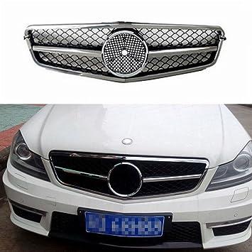Parrilla de rejilla para Benz W204 C Clase A estilo AMG de cromo plateado 2008 - 2014 por Motofansclub: Amazon.es: Coche y moto