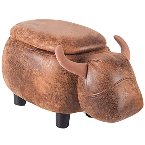 Pleasing Merax Have Fun Series Upholstered Ride On Storage Ottoman Footrest Stool With Vivid Adorable Animal Shap Brown Buffalo Short Links Chair Design For Home Short Linksinfo