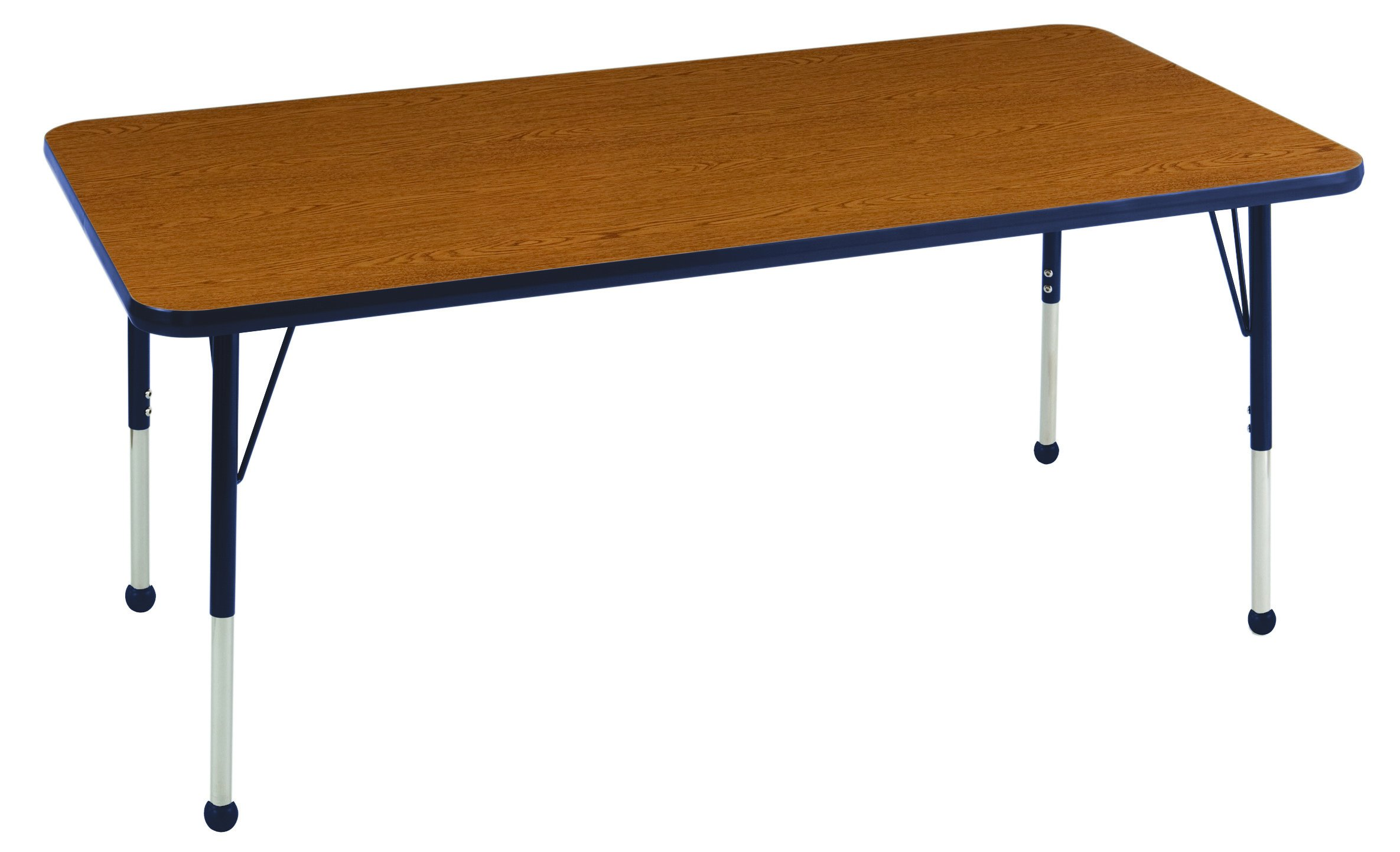 ECR4Kids T-Mold 30'' x 60'' Rectangular Activity School Table, Toddler Legs w/ Ball Glides, Adjustable Height 15-23 inch (Oak/Navy) by ECR4Kids