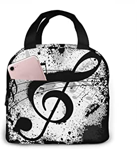 Music Note Lunch Bag Cooler Bag Women Tote Bag Insulated Lunch Box Water-resistant Thermal Soft Liner Lunch Container for Picnic Travel Boating Beach Fishing Work