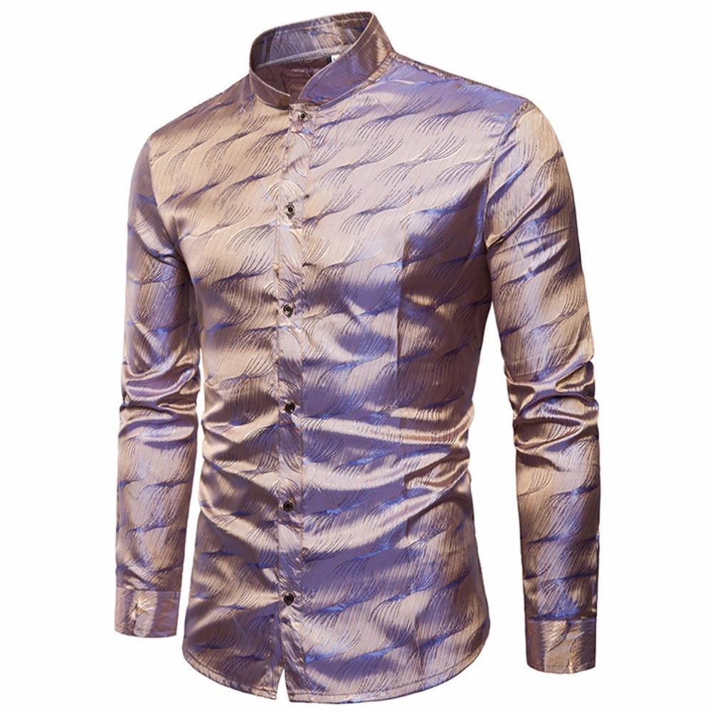 Men Dress Shirt Classic Button Down Long Sleeve Luxurious Wave