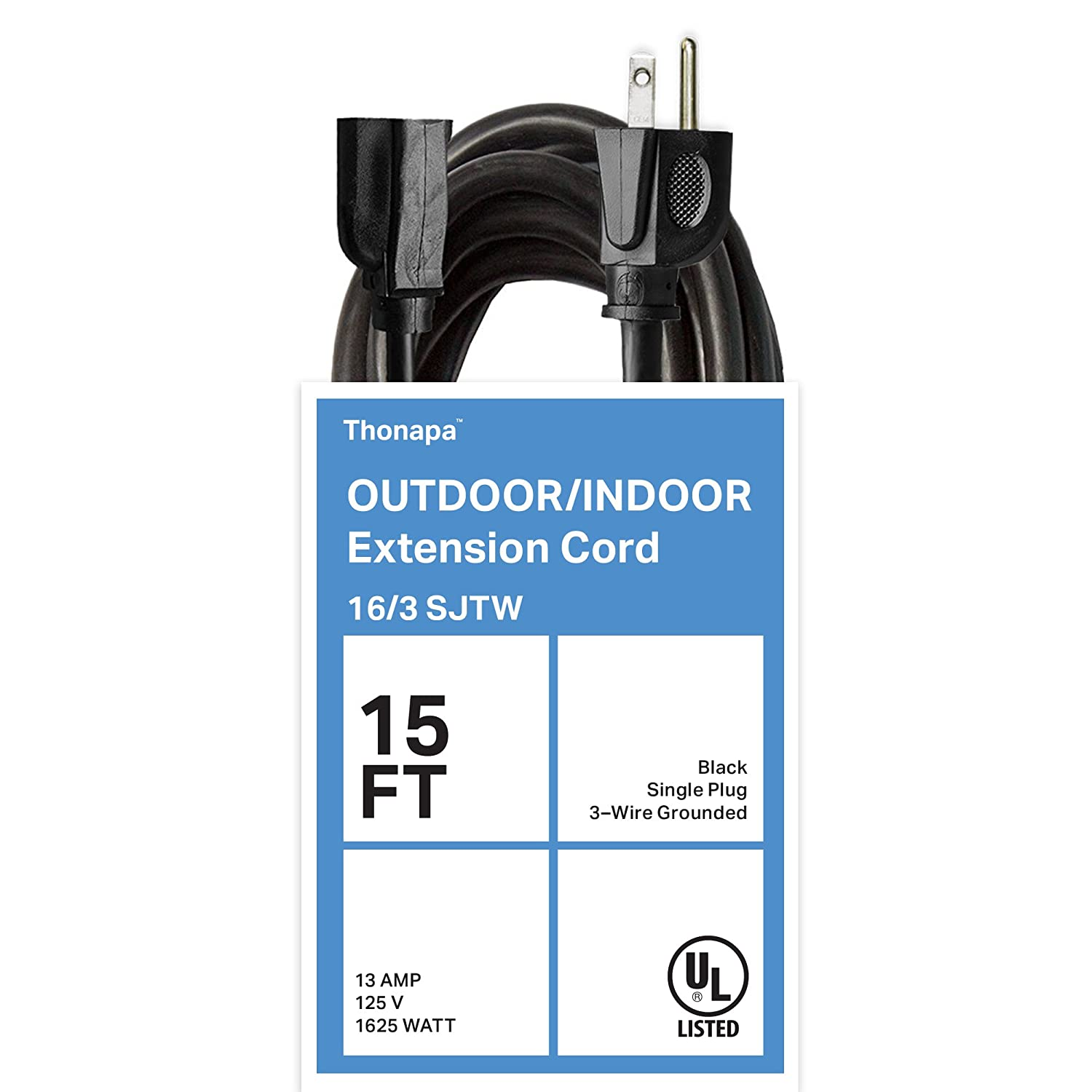 Thonapa 10 Ft Black Extension Cord - 16/3 Electrical Cable with 3 Prong Grounded Plug for Safety TH-163B10