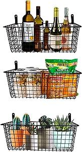 Wall Mounted Metal Wire Basket, Hanging Storage Basket Organizer for Organization and Storage in Kitchen Pantry Bathroom Bedroom Entryway Laundry Room Office Garage, Fruit Basket Set of 3, Black