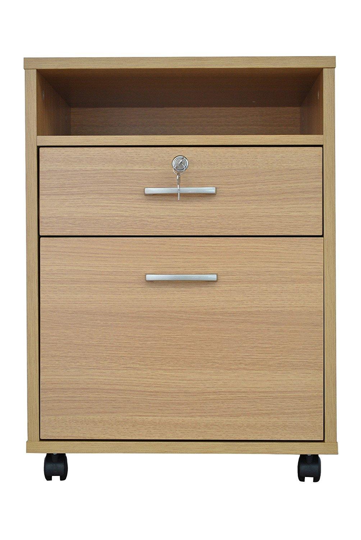 Armario archivador individual de madera de roble con cierre: Amazon.es: Oficina y papelería