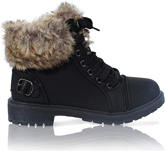 Ladies Fur Lining Boots Womens Work Combat Army Ankle Buckle Lace Up Shoes Size