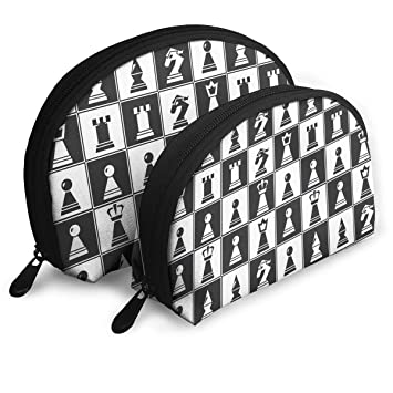 577fc0c1bf6b Amazon.com : Chess Pieces Board Pattern Portable Shell Makeup Bags ...