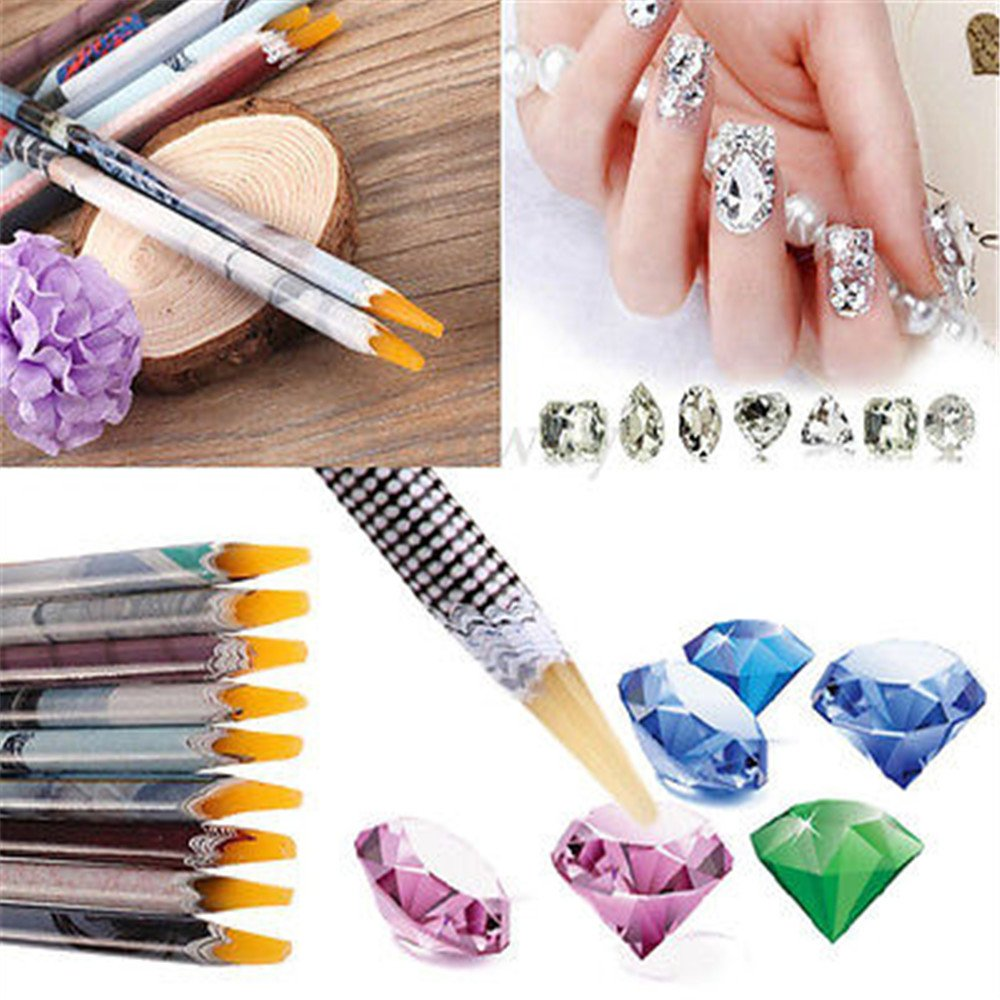 Artlalic 2 Pcs Resin Rhinestones Picker Pencil Nail Art Gem Crystal Pick up Tool Wax Pen