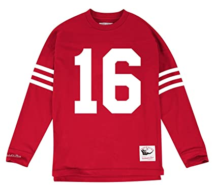 ad9f755ec Amazon.com   Mitchell   Ness Joe Montana San Francisco 49ers NFL Men s Go  Long L S Shirt   Sports   Outdoors