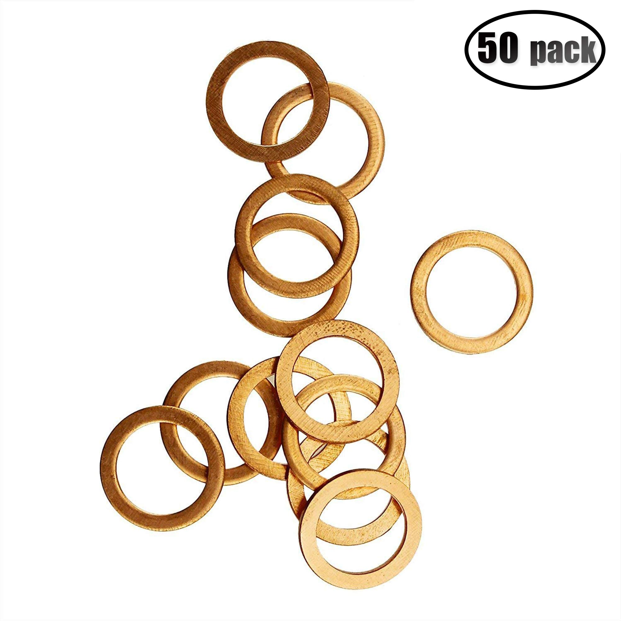 IZTOSS 50Pcs Copper Metric Flat Sealing Washers M14x20x1.5mm