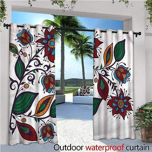 Cortinas de Exterior y Exterior Estilo Vintage con diseño de Flores románticas para jardín o Patio, Resistente al Agua y al Calor: Amazon.es: Jardín