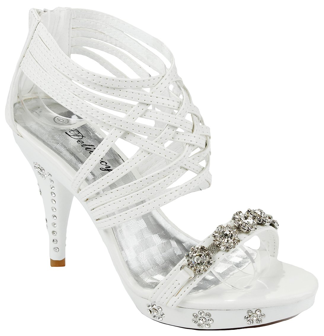 Women Strap Sparkle Rhinestone Strappy Zipper Open Toe Party Evening Dress Heels Sandal Pumps B074HH487H 7 B(M) US|White_t27