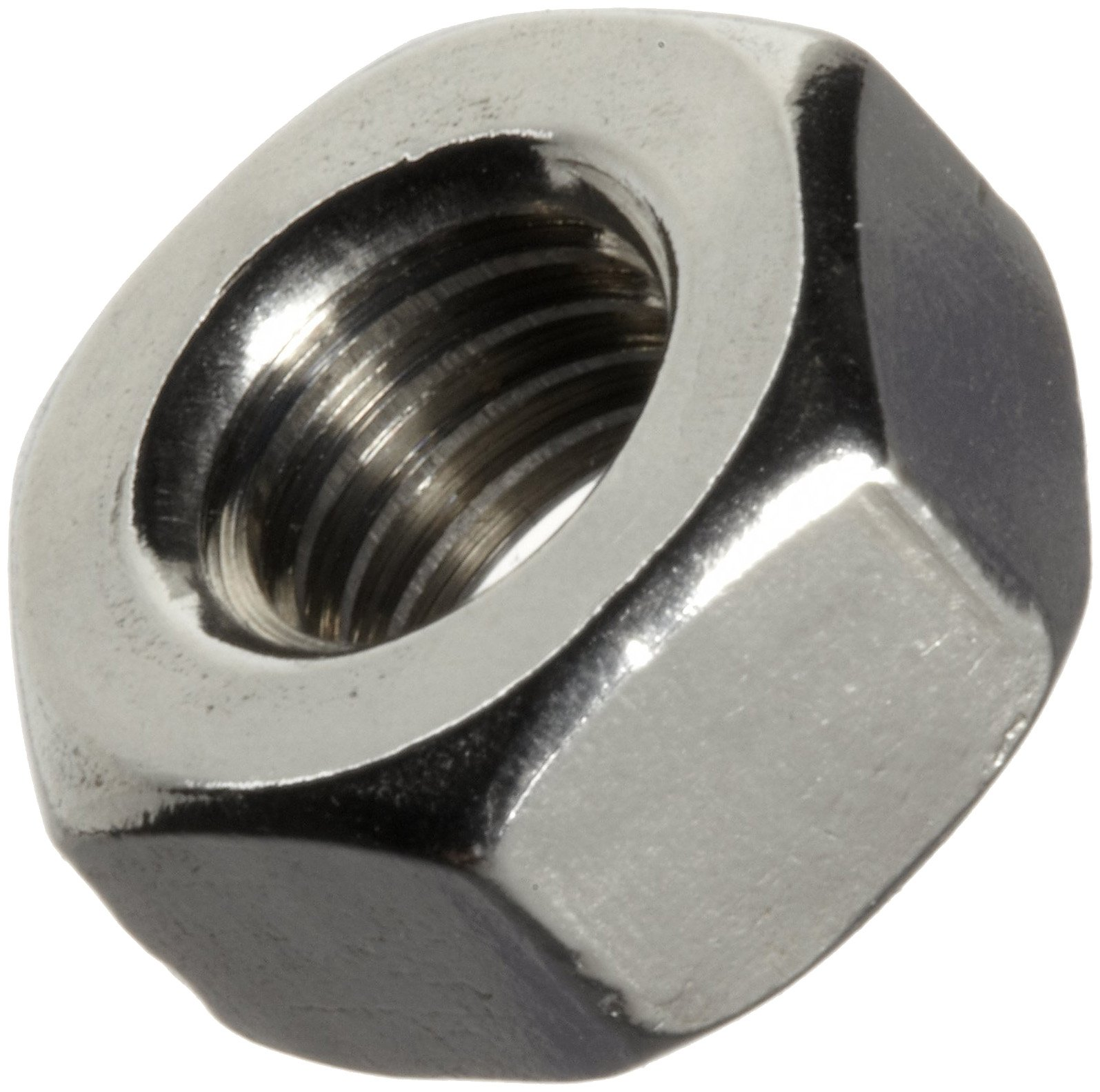 ASME B18.6.3 Plain 18-8 Stainless Steel Machine Screw Hex Nut, #8-32 Thread Size, 1/8'' Width Across Flats, 11/32'' Thick (Pack of 100)