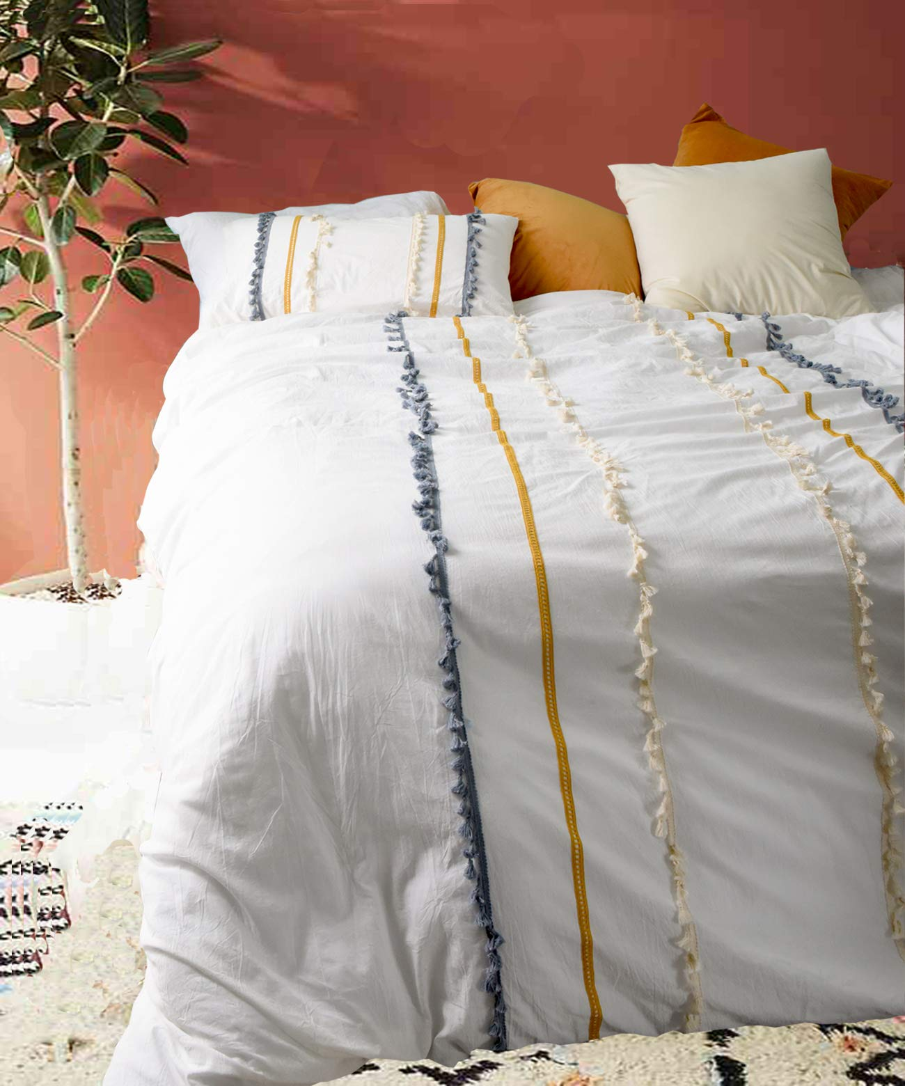Flber Boho Duvet Cover Queen Cotton Boho Bedding Full White Comforter,86in x 90in