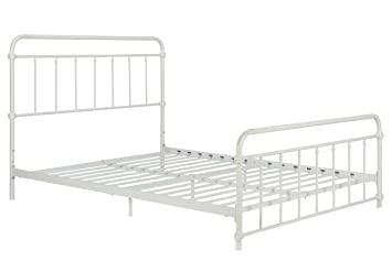 wallace metal bed frame in white with vintage headboard and footboard no box spring required