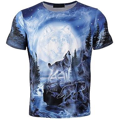 Ulanda-EU Mens T-Shirts Summer Skull Print Short Sleeve Cotton Tops Casual Formal Regular Fit Blouse for Men Shirts Clothes