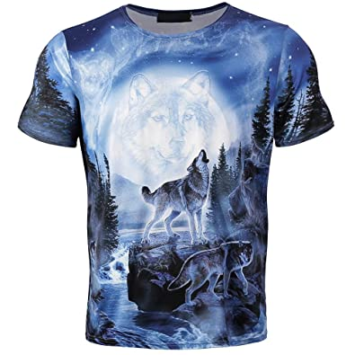 d1aa6ef2c8 Amazon.com: ZOMUSAR Men Tee Tops, Fashion Funny Boys Men 3D Wolf Printed  Summer Short Sleeve T-Shirts Top Tee Blouse: Shoes