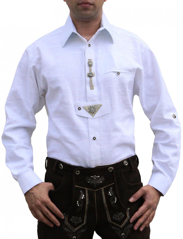 Trachtenhemd für Trachten Lederhosen Oktoberfest Trachtenmode wiesn weiß,  Hemdgröße S  Amazon.de  Bekleidung 78eaefa638