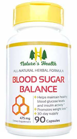 Blood Sugar Balance, All-Natural Blood Glucose Support Supplement, Promotes Healthy Blood Glucose Levels and Insulin Activity, 475 Mg, 90 Capsules, Nature's Health