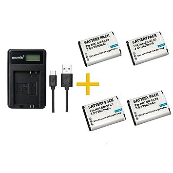 4 Pieza 2000 mAh EN-EL23 ENEL23 Batería con Cargador de batería para cámara Nikon COOLPIX P600 S810c P900 P610(4 pcs Battery with Charger)