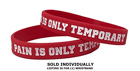 Perfect Inspiration for Marathons Motivational Silicone Wristbands with Custom Sayings Peakline Sports or Any Athletic Event. Pain is Only Temporary Triathlons