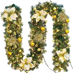 FunPa Guirnalda Navidad, 9 Pies Guirnalda De Pino Artificial Flor De Navidad con Luz para La Decoración del Hogar: Amazon.es: Hogar