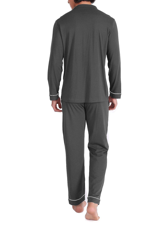 5f1b844eb0bf5e Genuwin Herren Zweiteiliger Schlafanzug Anzug Lang Pyjama aus 100 ...