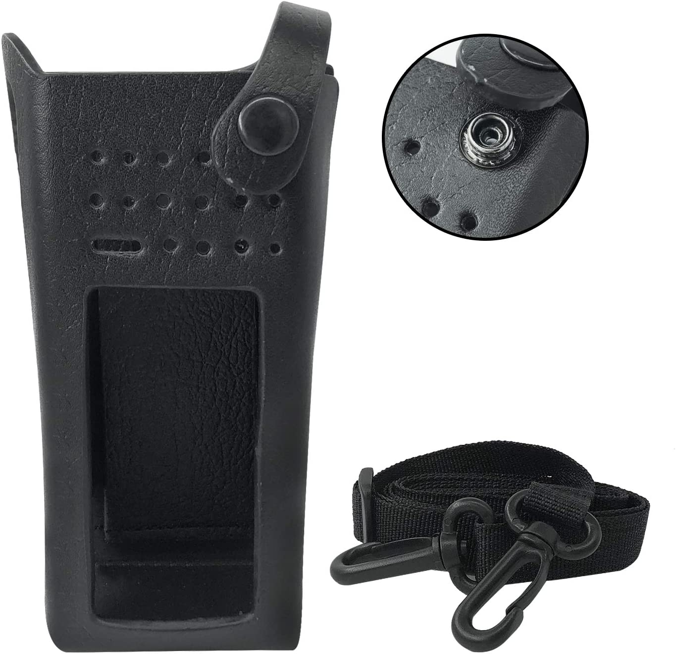 Amasu PMLN5838 Hard Leather Carry Case with Belt Loop for Motorola XPR7550 XPR7550e Walkie Talkie